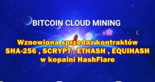 Wznowiona sprzedaż kontraktów SHA-256 , SCRYPT , ETHASH , EQUIHASH w kopalni HashFlare