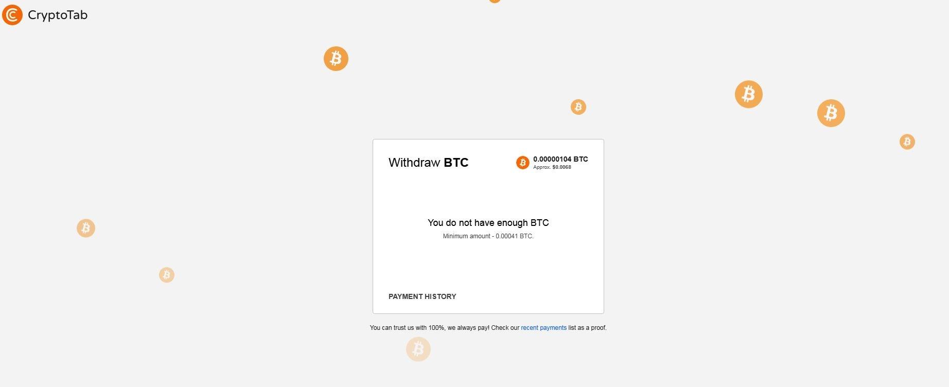 Przeglądarka CrypotoTab minimum do wypłaty