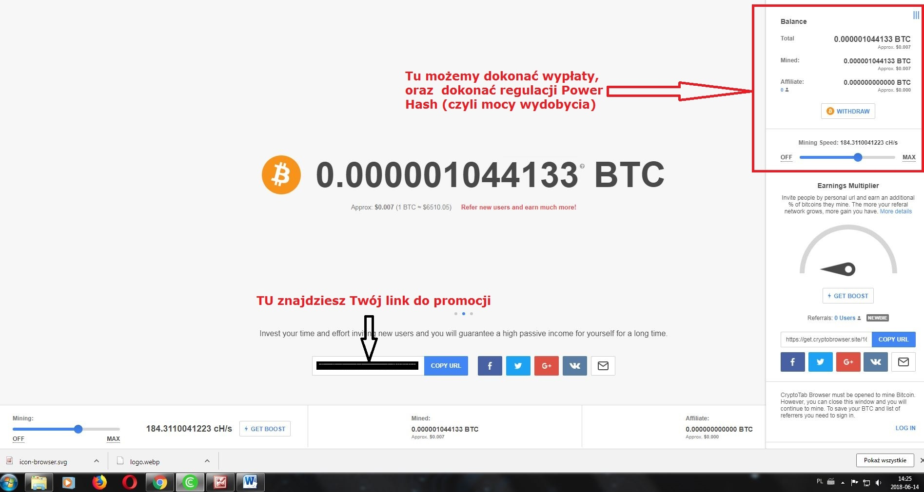 Przeglądarka CrypotoTab płatności przycisk