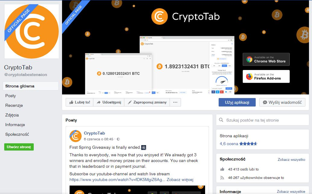 Przeglądarka CrypotoTab społecznośc Facebook