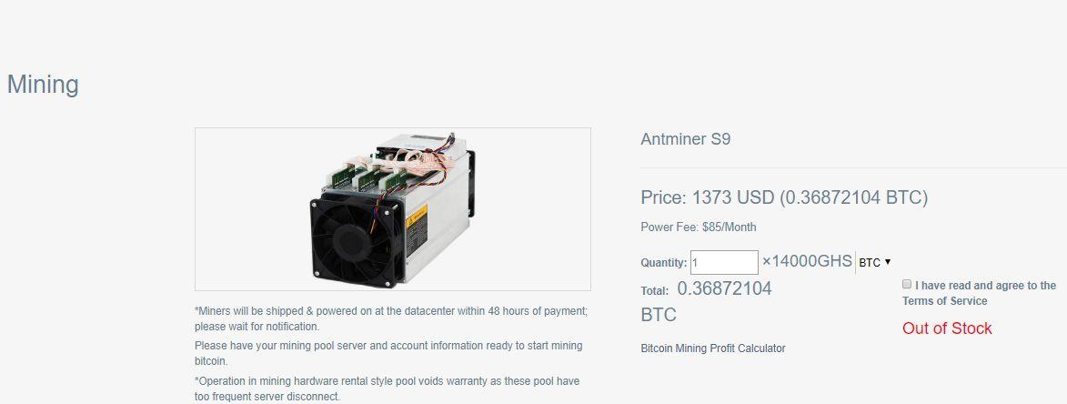 Bitcoin India kontrakt Antminer S9