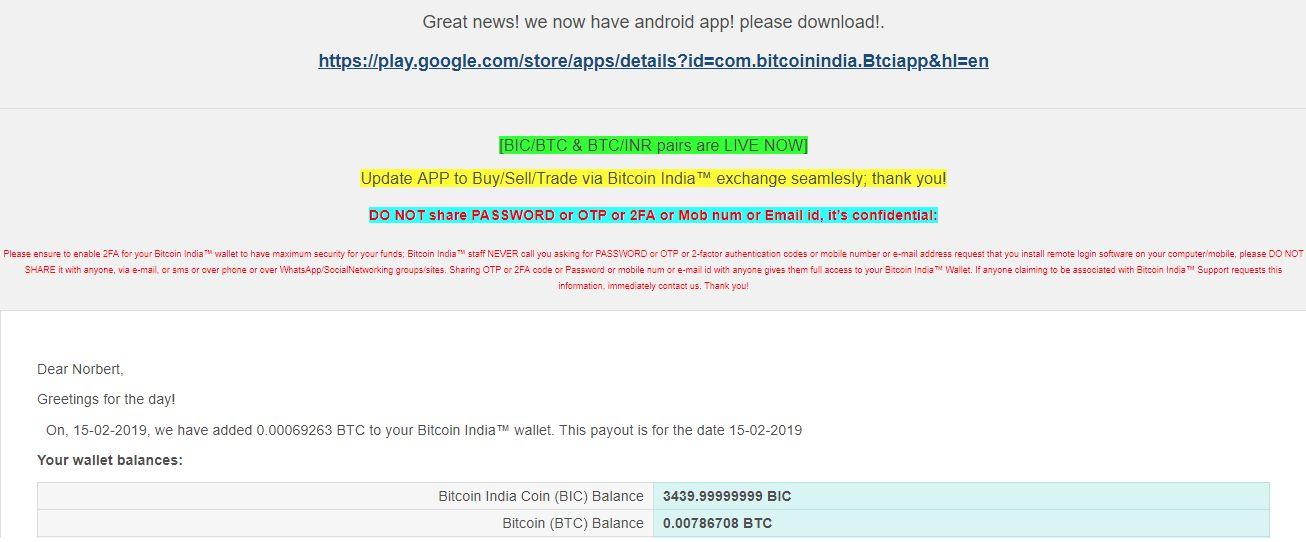 Bitcoin India raport dzienny na maila