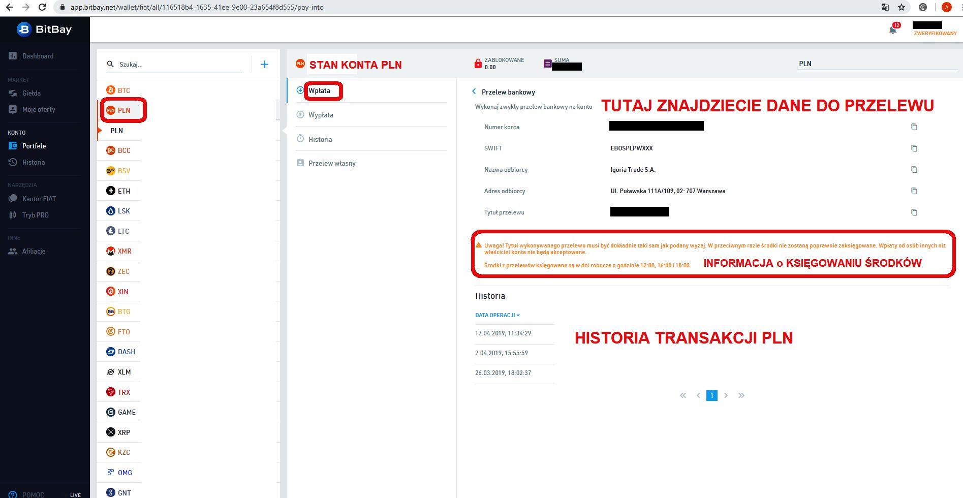 Jak inwestować w kryptowaluty Bitbay porfel PLN depozyt przelew