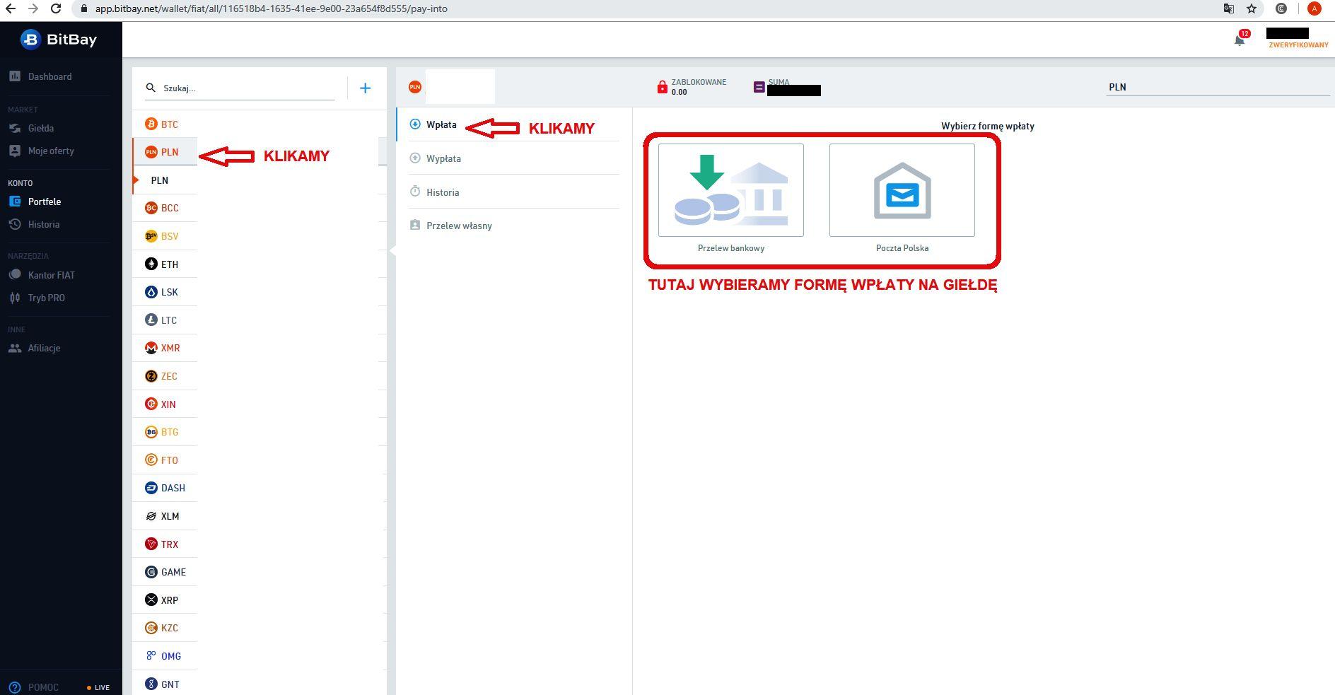 Jak inwestować w kryptowaluty Bitbay porfel PLN depozyt