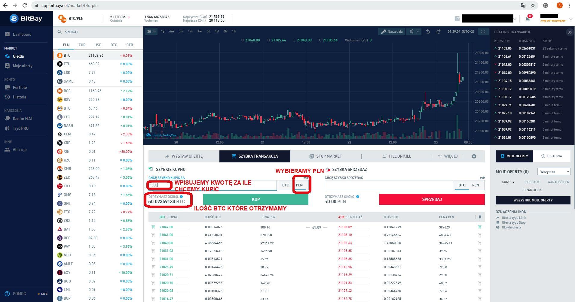 Jak inwestować w kryptowaluty giełda BitBay zakup Bitcoin 2