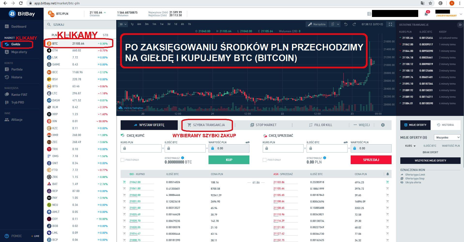 Jak inwestować w kryptowaluty giełda BitBay zakup Bitcoin