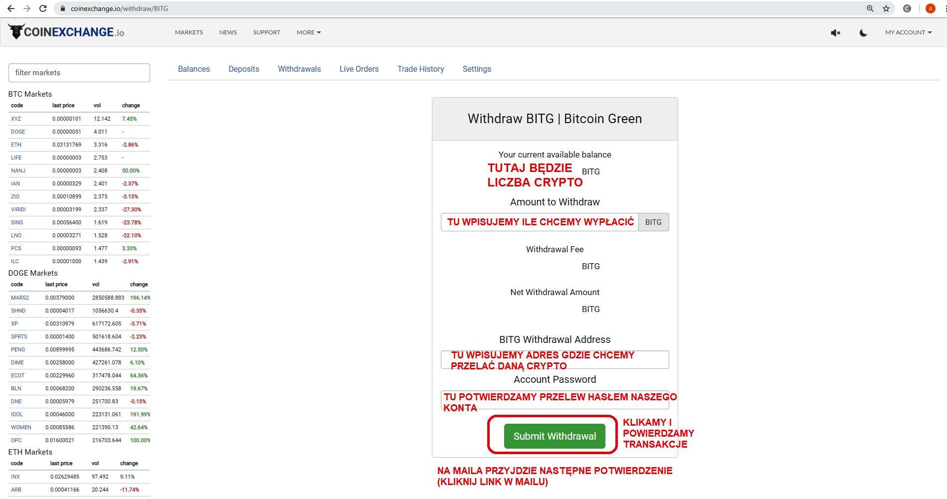 jak inwestować w kryptowaluty giełda coinexchange zakub Bitcoin Green Balance wypłata BITG 3