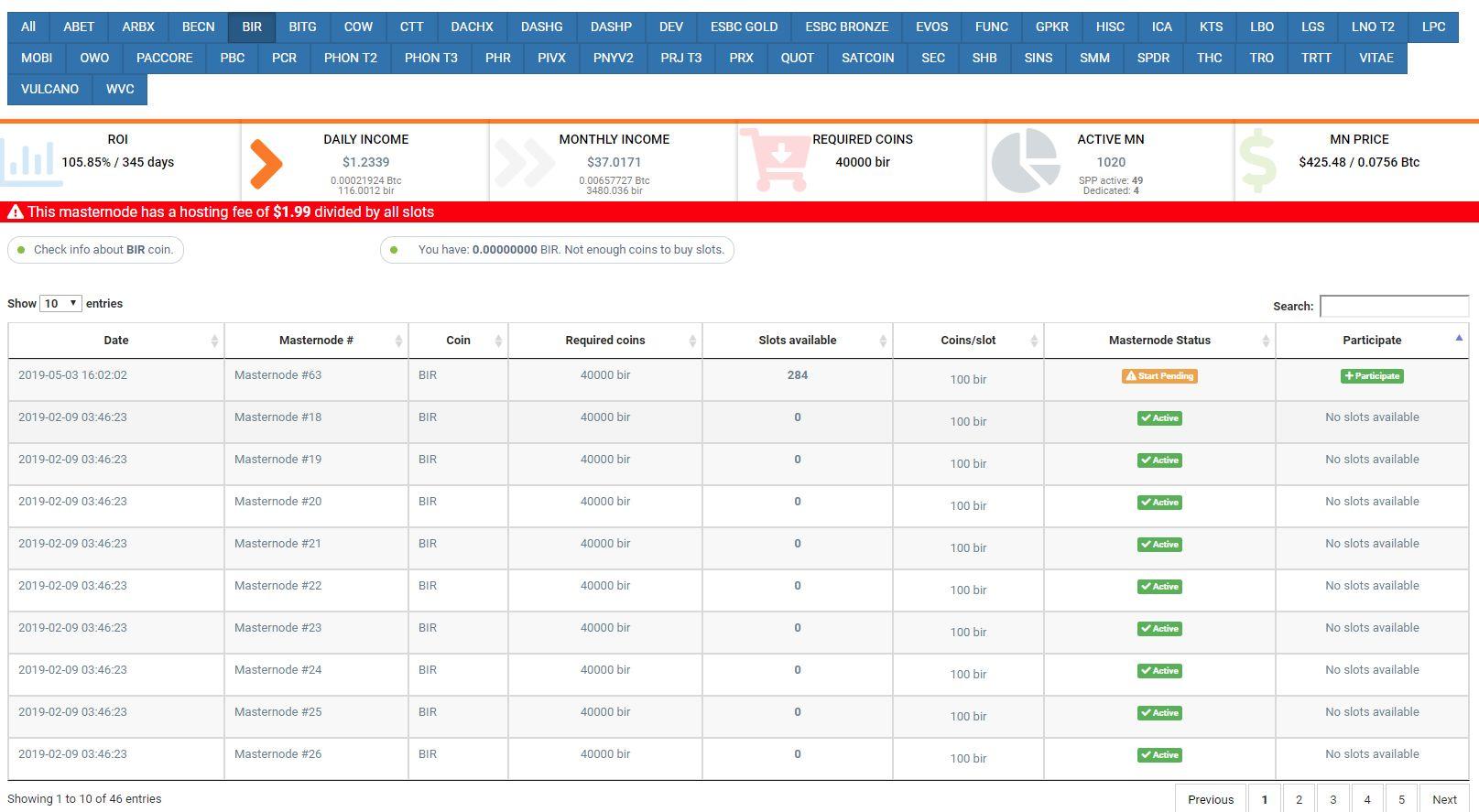 Ciekawe projekty crypto z możliwością kopania PoS i Masternode Birake zrzuty ekranu kopalnia Simple Pos Pool