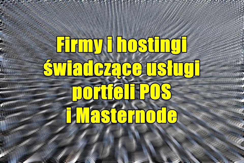 Firmy i hostingi świadczące usługi portfeli POS i Masternode
