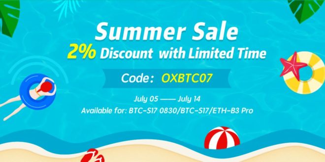 Letnia wyprzedaż z 2% rabatem w kopalni OXBTC! Wpisz kod OXBTC07, przy zakupie mocy wydobywczych
