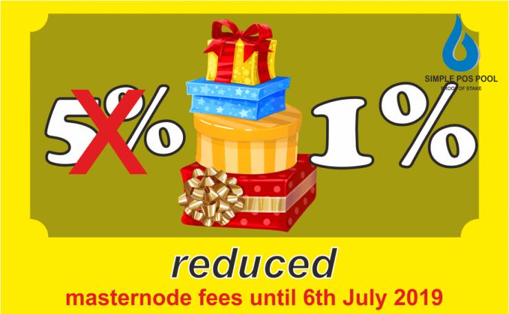 Zmniejszono opłaty za masternode do 6 lipca 2019 roku Simple Pos Pool