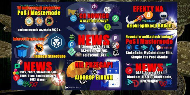 10 najlepszych projektów PoS i Masternode wrzesień 2020 r. NIE PRZEGAP! AIRDROP ELROND. Interest Crypto.com kontra interest StakeCube!