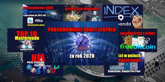 Ach ten rok 2020 w branży PoS i Masternode. Najlepsze Masternody – tydzień 522020. Retrospektywa 2020 MyCointainer i jego plany na 2021 rok