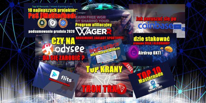 Program afiliacyjny Wagerr – ANONIMOWE ZAKŁADY SPORTOWE. Czy na Odysee da się zarobić? TOP KRANY TRON TRX. Jak poruszać się po Coinbase