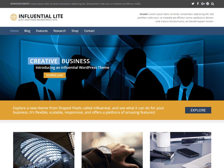 Influential Lite, darmowy temat dla firmy