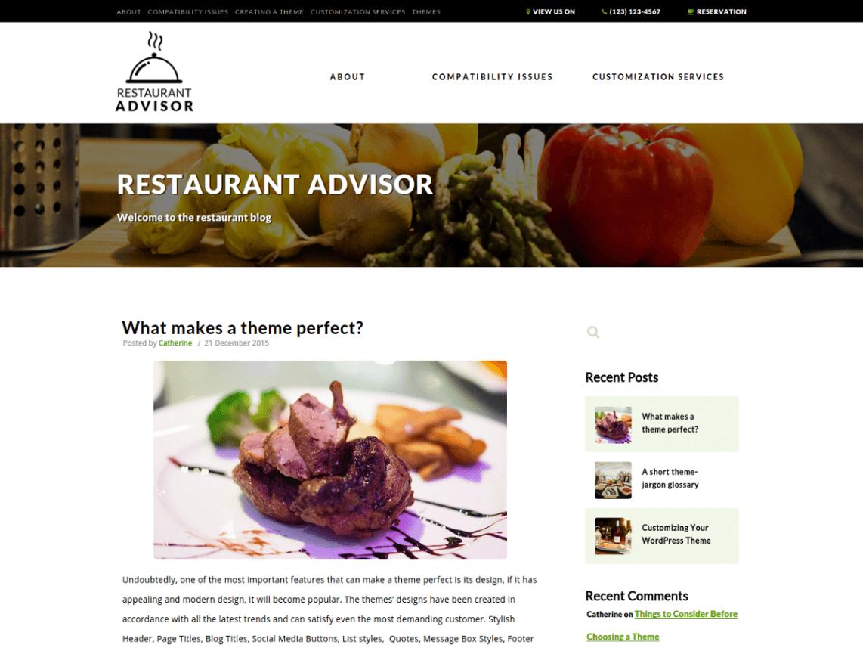 Restaurant Advisor motyw dla restauratorów