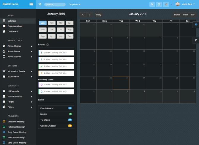 Sekcja Kalendarz Szablon panelu administracyjnego dla WordPress