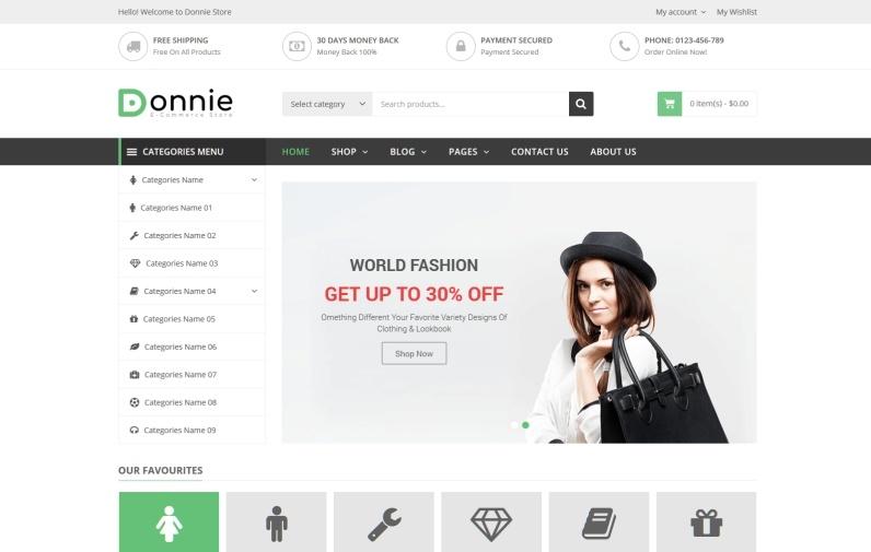 Donnie motywy templatki dla sklepu internetowego WooCommerce WordPress